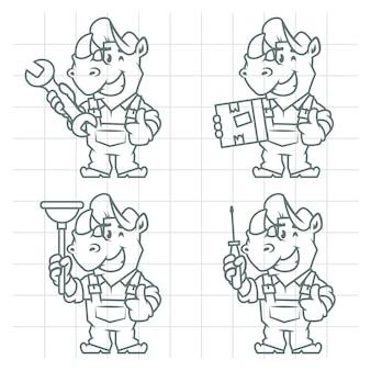Illustrazione vettoriale, set di caratteri rinoceronte doodle, formato eps 10