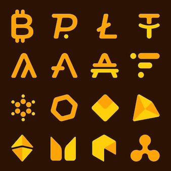 Illustrazione vettoriale di un insieme di criptovalute. icone, simboli di valute. fattura in linea. banner con sfondo marrone scuro.