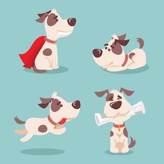 Insieme dell'illustrazione di vettore dei cartoni animati simpatici e divertenti cuccioli di cani