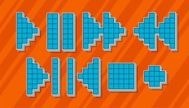Un'illustrazione vettoriale set di icone e simboli di pixel blu diversi per il giocatore