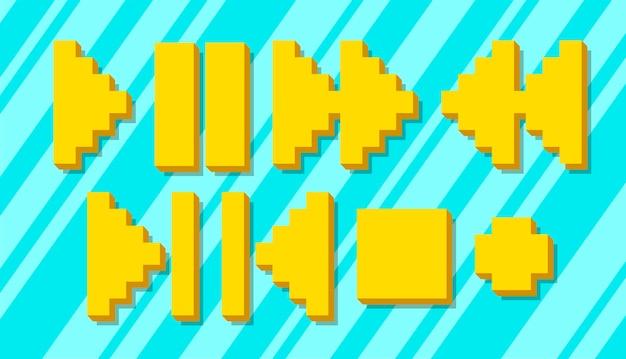 Un'illustrazione vettoriale set di icone e simboli di pixel gialli diversi per il giocatore