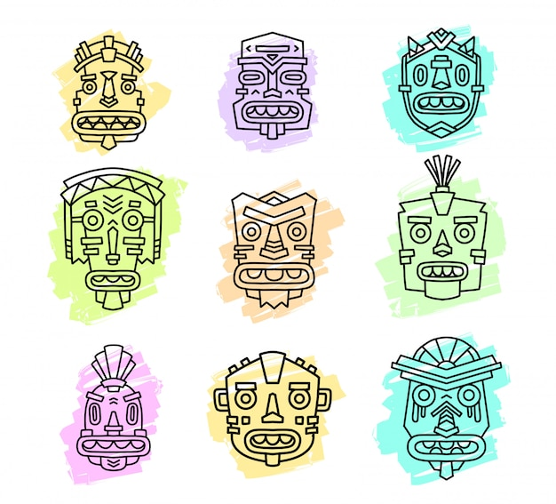 Illustrazione vettoriale di set di maschere colorate tribali etniche isolato su priorità bassa bianca. maschera etnica.