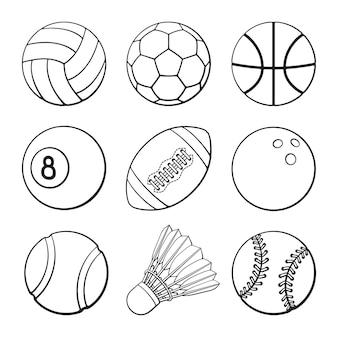 Illustrazione vettoriale set di scarabocchi disegnati a mano di palloni da calcio calcio basket pallavolo
