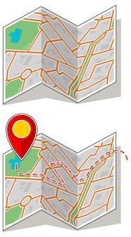 Una serie di illustrazioni vettoriali di opuscoli di mappe con waypoint