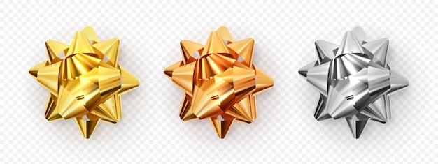 Set di illustrazione vettoriale. fiocco decorativo in metallo
