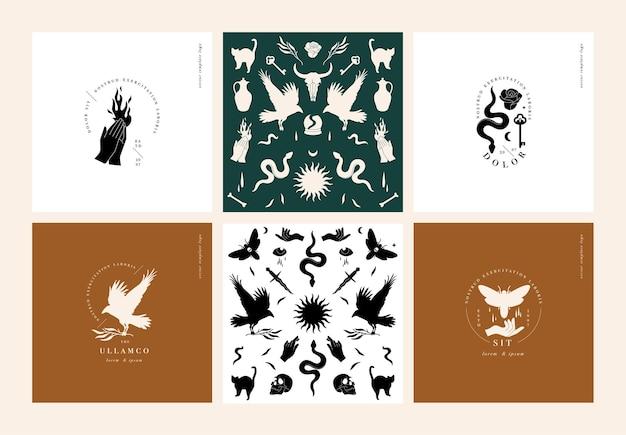 Set di illustrazioni vettoriali di icone mistiche e loghi senza cuciture con elementi bohémien malocchio...