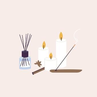 Insieme dell'illustrazione di vettore di prodotti biologici e naturali per la procedura spa e benessere. bastoncini aromatici e candele con olio essenziale, lozione a base di erbe.