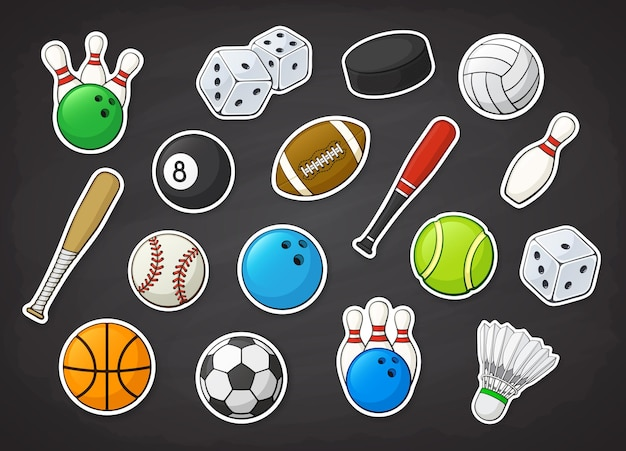 Set di illustrazioni vettoriali di attrezzature sportive come calcio calcio basket pallavolo baseball