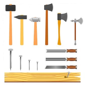 Illustrazione vettoriale di un set di strumenti per la lavorazione del legno