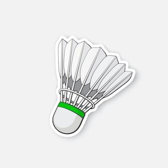 Illustrazione vettoriale volano per badminton da piume di uccello adesivo cartone animato in stile fumetto
