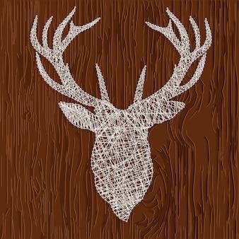 Illustrazione vettoriale di una silhouette di filo di cervo. disegnare su uno sfondo di legno
