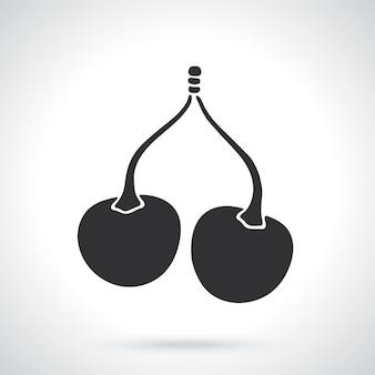 Illustrazione vettoriale silhouette di ciliegie gemelle con il gambo modello o motivo
