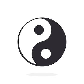 Illustrazione vettoriale silhouette di yin e yang simbolo di armonia ed equilibrio