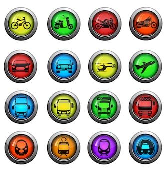 Illustrazione vettoriale di semplice veicolo monocromatico e icone relative al trasporto per il tuo design o applicazione.