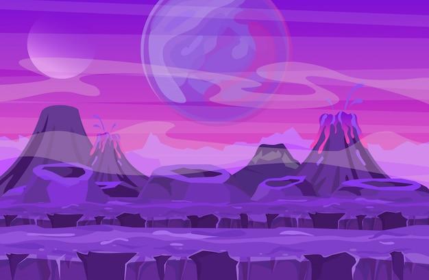 Vector l'illustrazione del paesaggio dello spazio con la vista rosa del pianeta