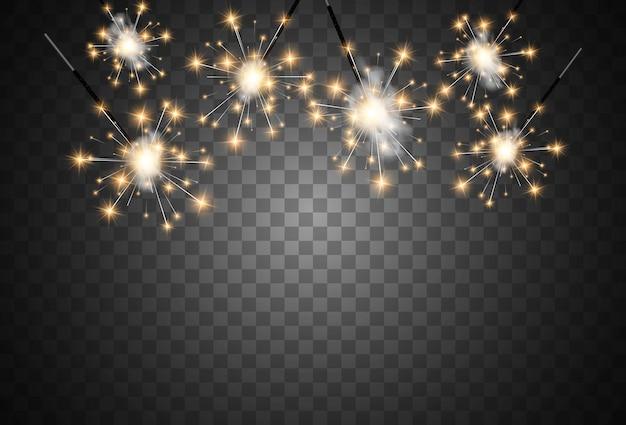 Illustrazione vettoriale di stelle filanti su uno sfondo trasparente