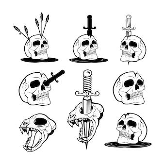Illustrazione vettoriale di esseri umani spettrali e teschi di animali con coltelli e frecce