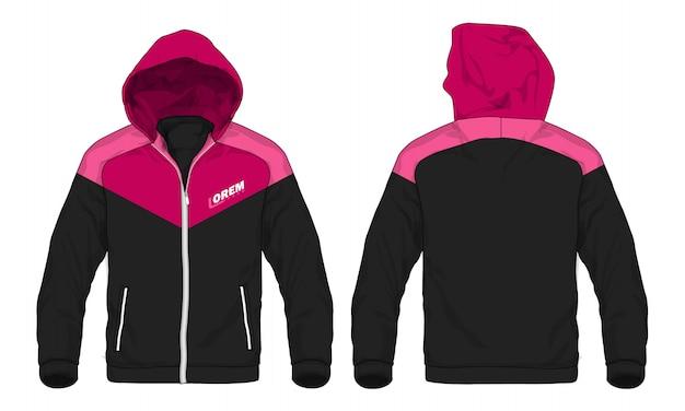 Illustrazione vettoriale di giacca sportiva con cappuccio.