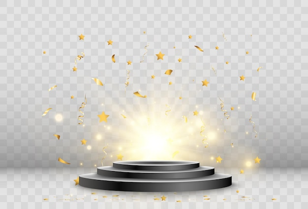 Illustrazione vettoriale di faretti che illuminano un palcoscenico o uno spazio pubblicitario.