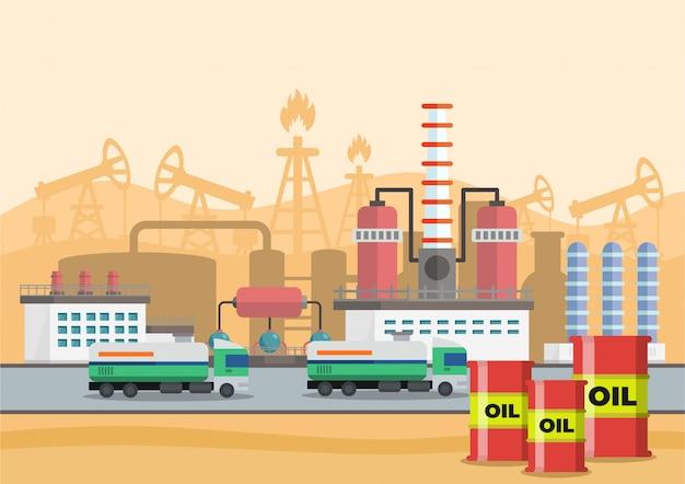 Illustrazione vettoriale di fasi di produzione di petrolio