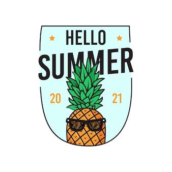 Illustrazione vettoriale di adesivo di ananas in occhiali da sole con scritta hello summer 2021