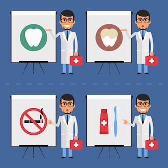 Illustrazione vettoriale, stomatologo indica sulla lavagna a fogli mobili, formato eps 10.