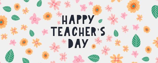 Illustrazione vettoriale di un testo elegante per happy teacher's day flowers