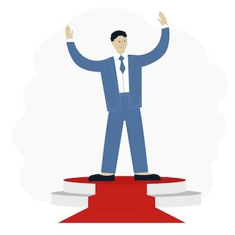 Illustrazione vettoriale di un uomo di successo in un vestito con le mani in alto sulla piattaforma. concetto di successo aziendale