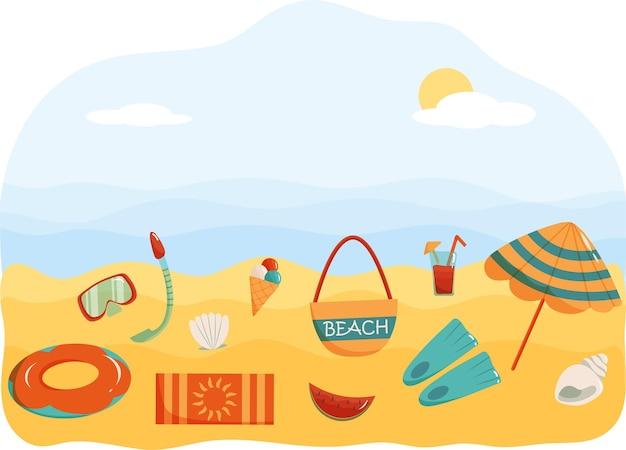 Illustrazione vettoriale di banner estivo con elementi colorati sulla spiaggia sullo sfondo dell'onda del mare