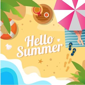 Illustrazione vettoriale di sfondo spiaggia estiva con foglia di cocco per i social media