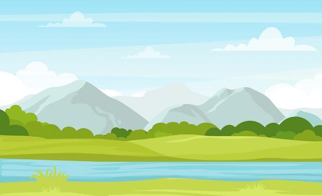 Illustrazione vettoriale di paesaggio estivo con montagne e fiume. splendida vista sulle montagne in stile cartone animato piatto, buon background per il tuo design di banner.