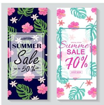 Illustrazione vettoriale banner di saldi estivi con foglie tropicali per la promozione