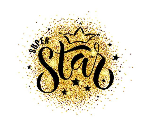 Illustrazione vettoriale testo super star per abbigliamento per ragazze ragazzisuper star badge tag iconinspirational