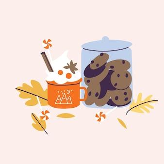 Illustrazione vettoriale gustoso latte speziato in tazza rossa e barattolo di biscotti al cioccolato e lecca-lecca con foglie d'autunno intorno. concetto di bevanda calda stagionale.