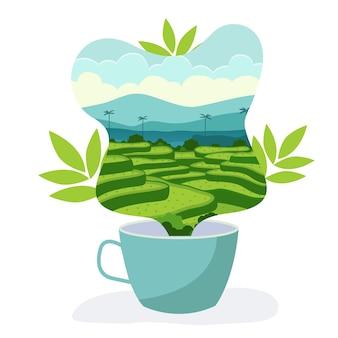 Illustrazione vettoriale del giardino del tè in una tazza di tè