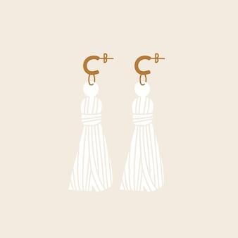 Orecchini tessili illustrazione vettoriale. accessorio dal design moderno ed elegante.