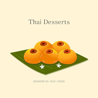 Illustrazione vettoriale dessert tailandese fatto con tuorli d'uovo e zucchero vettore eps 10