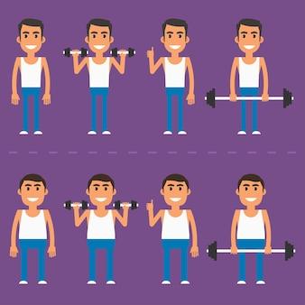 Illustrazione vettoriale, atleta spesso e sottile in diverse pose, formato eps 10.