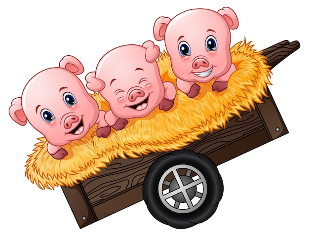 Illustrazione vettoriale di tre piccolo maiale cartoon sul carrello