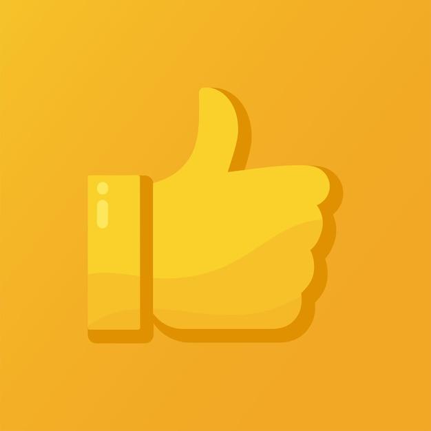 Illustrazione vettoriale di un pollice in alto, mi piace, simbolo approvato o buono su uno sfondo arancione.