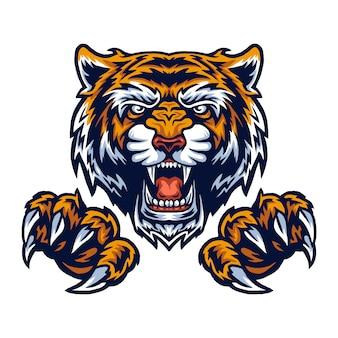 Illustrazione vettoriale di tigre e artigli