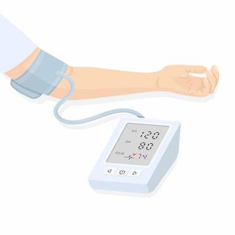 Illustrazione vettoriale di un tonometro e della mano di una persona che misura la pressione sanguigna