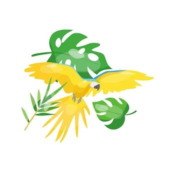 Illustrazione vettoriale di un pappagallo volante tropicale in una composizione con foglie tropicali