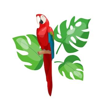 Illustrazione vettoriale di un pappagallo rosso tropicale in una composizione con foglie tropicali