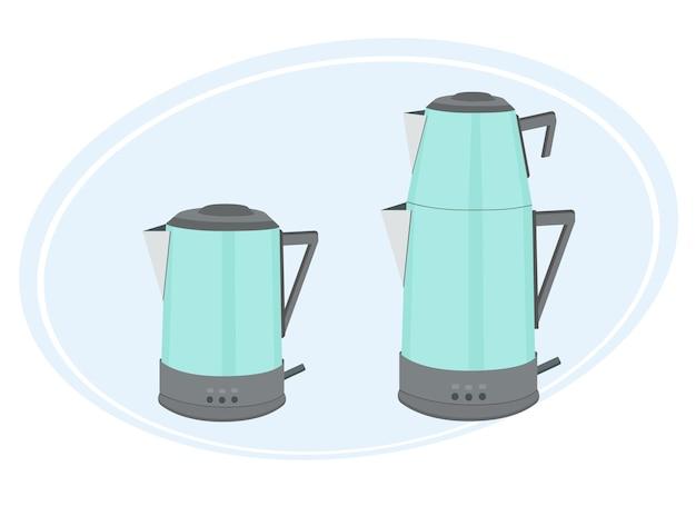 Illustrazione vettoriale di una teiera doppia turca. uno per l'acqua bollente, un altro per le foglie di tè