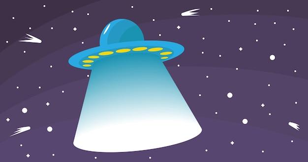 Illustrazione vettoriale di ufo nello spazio