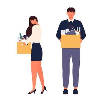 Illustrazione vettoriale di disoccupazione uomo e donna in cerca di un lavoro illustrazione personaggio umano