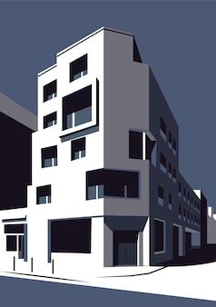 Illustrazione vettoriale di un edificio urbano con un motivo a colori in scala di grigi