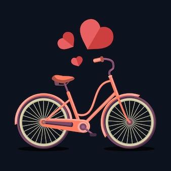 Illustrazione vettoriale di bicicletta hipster urbana con cuori in stile piatto