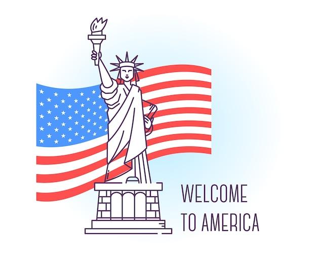 Illustrazione vettoriale di usa monumento statua della libertà. punto di riferimento di new york a tutto corpo. simbolo patriottico americano.